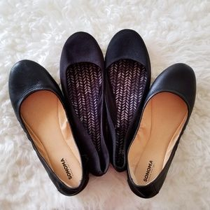 2-for-1 Black Ballet Flats - Leather & Fabric